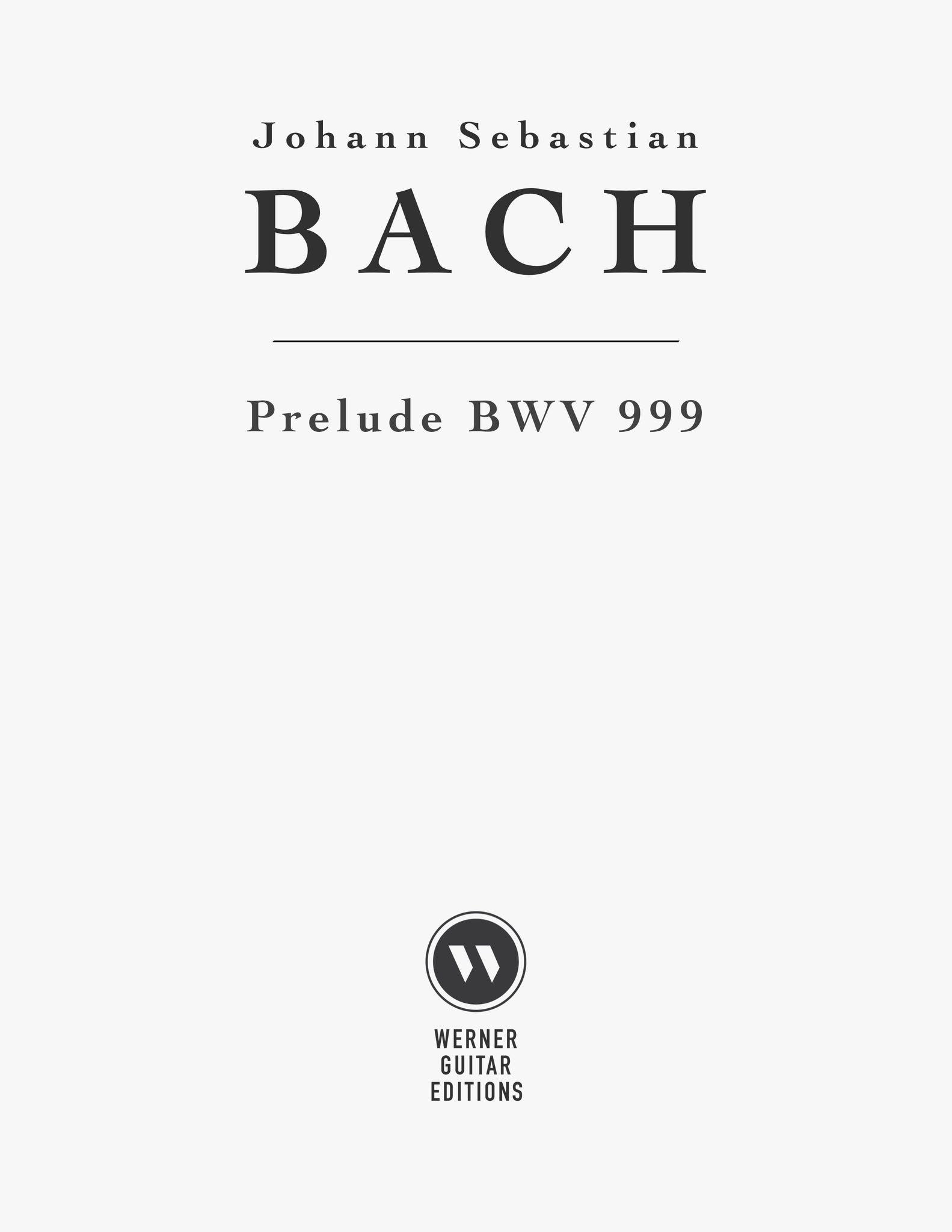 Bach - Prelude BWV999 for Guitar - PDF Sheet Music or Tab PDF