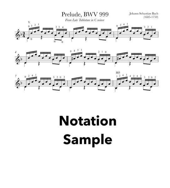 Prelude BWV 999 by Bach for Guitar (Notation Sample)