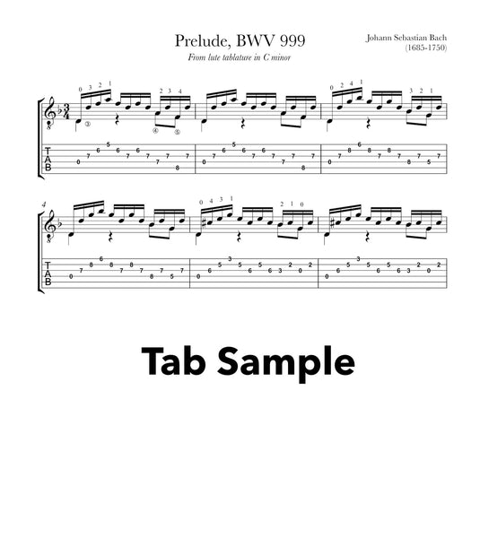 Prelude BWV 999 by Bach for Guitar (TAB Sample)