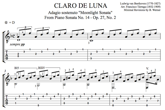 Moonlight Sonata by Beethoven for Guitar (PDF)