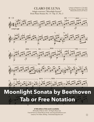 Moonlight Sonata by Beethoven for Guitar (Free PDF)