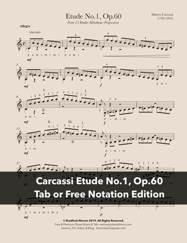 Etude No.1, Op.60 by Matteo Carcassi - Free PDF