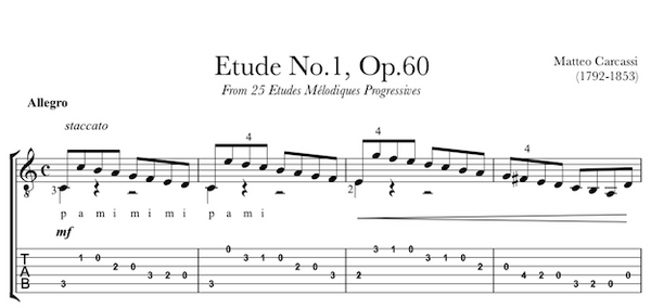 Etude No.1, Op.60 by Matteo Carcassi - TAB