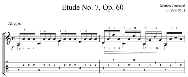Etude No.7, Op.60 by Carcassi TAB Sample