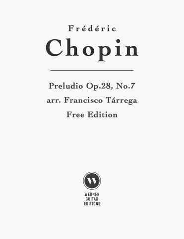 Preludio No.7, Op.28 by Chopin for Guitar (PDF)
