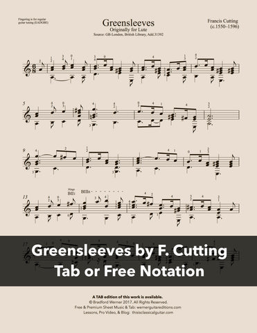 Greensleeves by Francis Cutting (Free PDF)
