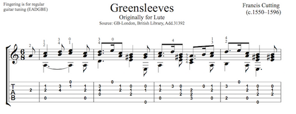 Greensleeves by Francis Cutting - Tab Sample