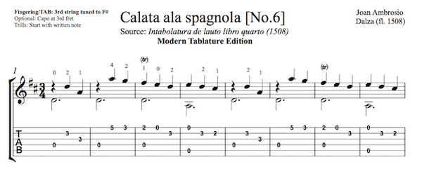 Calata ala Spagnola by Dalza (Tab Sample)