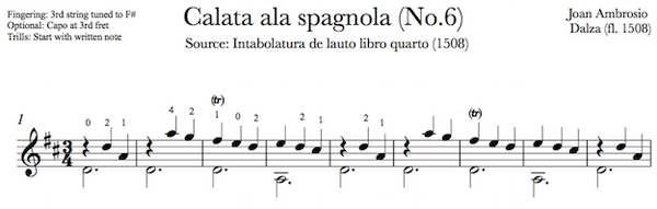 Calata ala Spagnola by Dalza (Notes Sample)