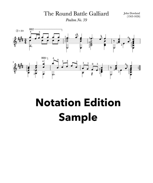 The Round Battle Galliard by Dowland (Sheet Music Sample)