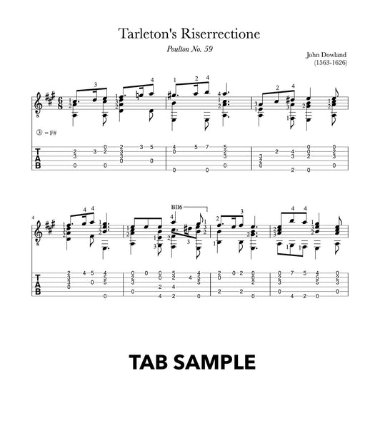 Tarleton's Riserrectione by Dowland (TAB Sample)