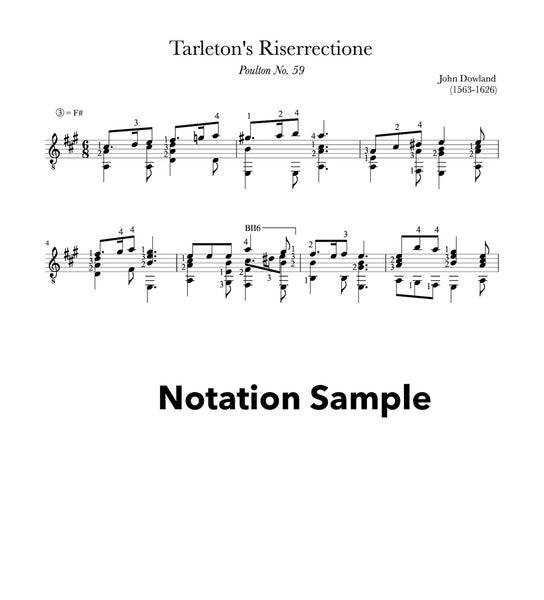 Tarleton's Riserrectione by Dowland (Notation Sample))
