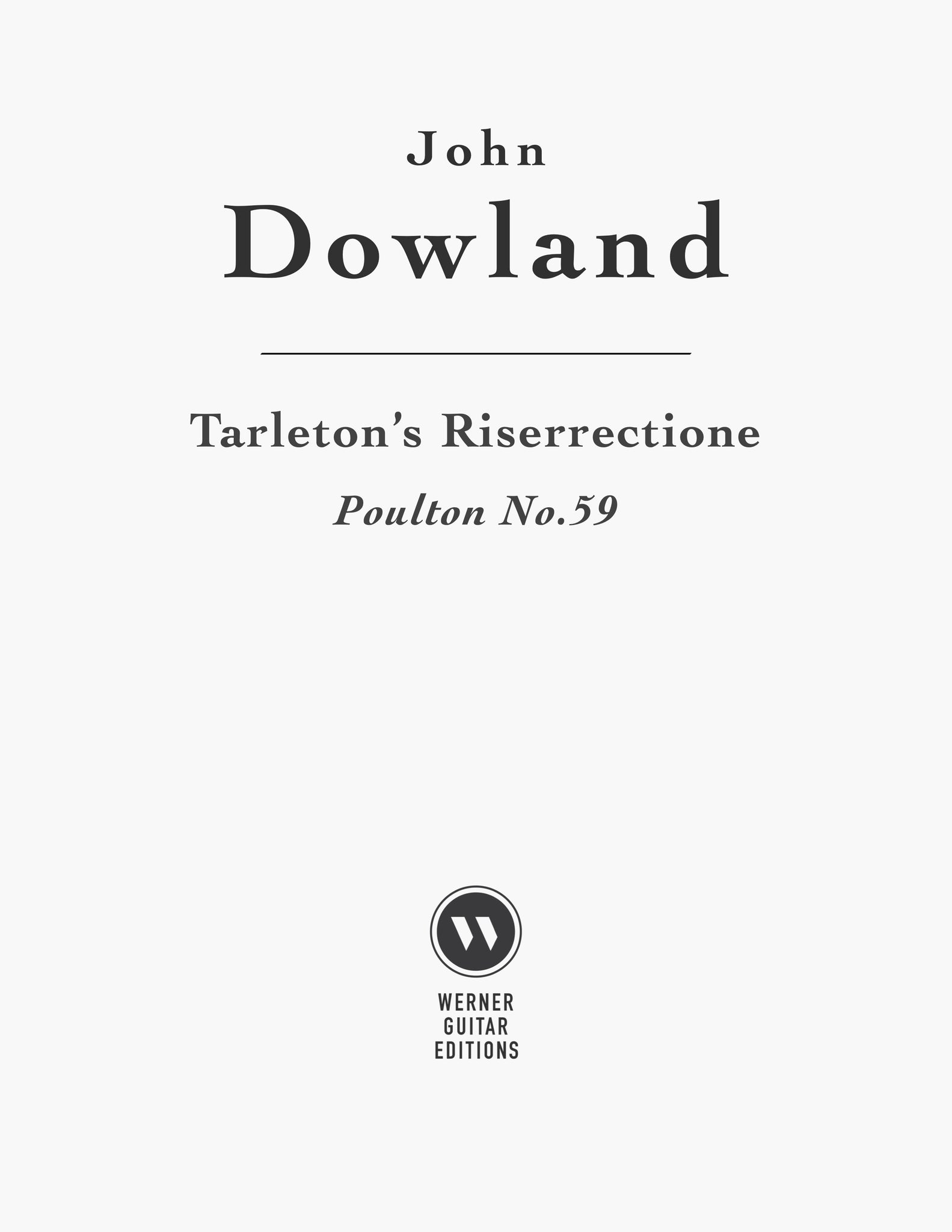 Tarleton's Riserrectione by Dowland (PDF Sheet Music and TAB)