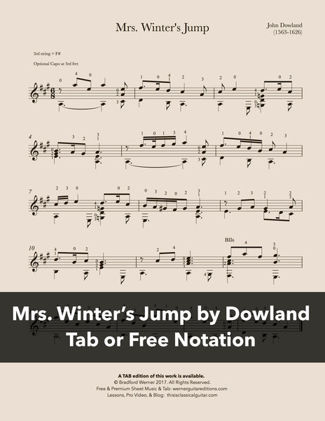 Mrs Winter's Jump by Dowland (Free PDF)