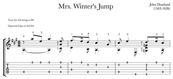 Mrs Winter's Jump by Dowland - Tab Sample