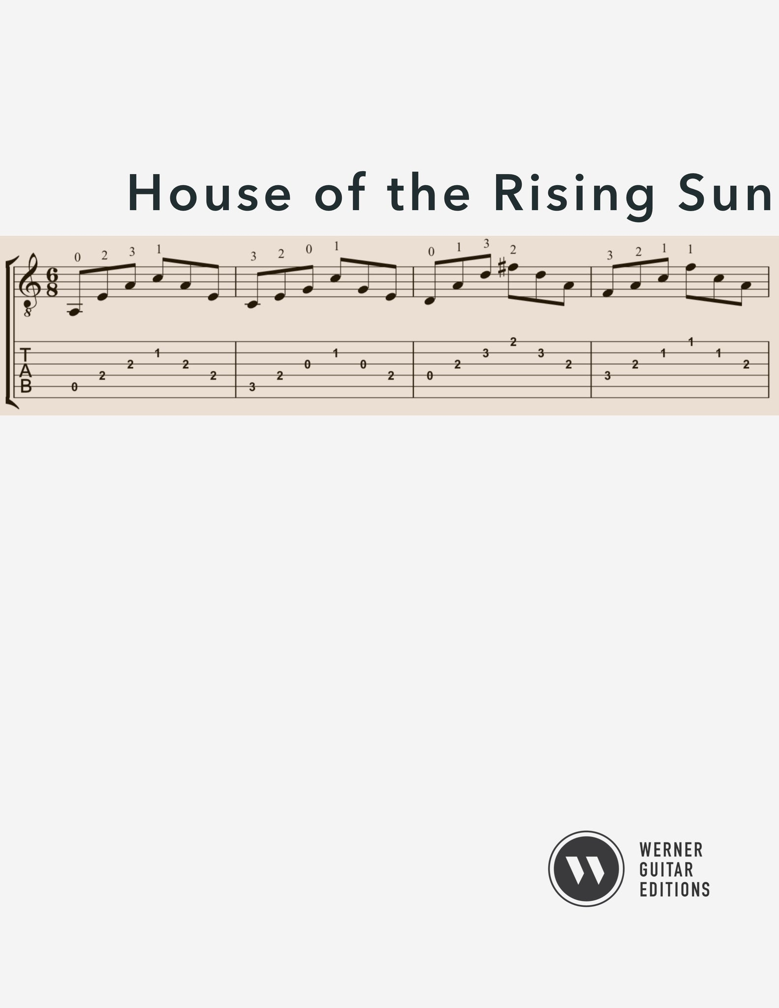 House of the Rising Sun for Guitar (PDF)