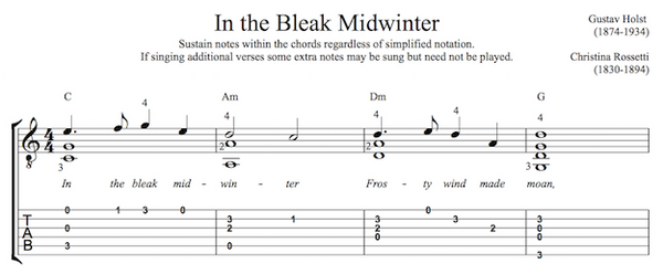 In the Bleak Midwinter for Guitar (PDF)
