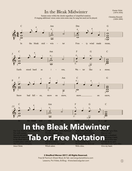 In the Bleak Midwinter - Guitar (Free PDF)