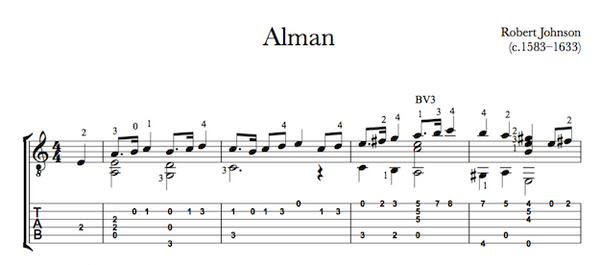 Alman by Robert Johnson for Guitar (Tab Sample)