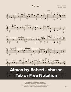 Alman by Robert Johnson for Guitar (Free PDF)
