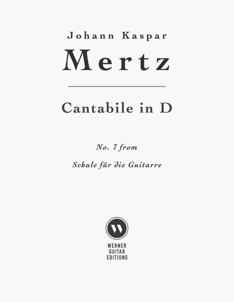 Cantabile in D by Mertz (PDF Sheet Music for Classical Guitar)