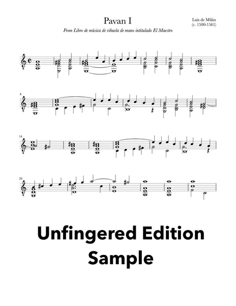 Six Pavans by Luis Milán for Guitar (Unfingered Sample))