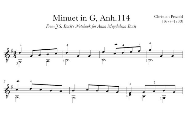 Minuet in G, Anh. 114 by Petzold / Bach for Guitar (PDF)