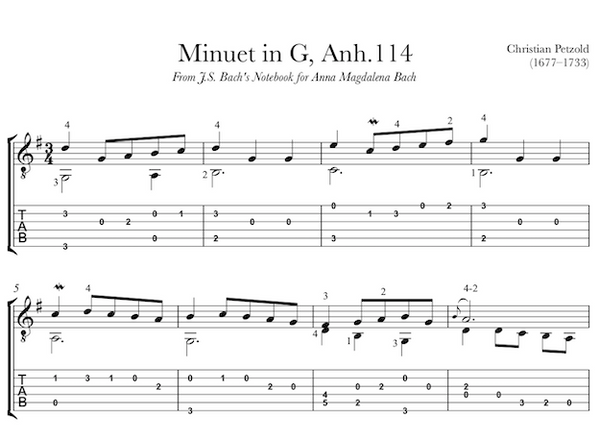 Minuet in G, Anh. 114 by Petzold / Bach for Guitar TAB (PDF)