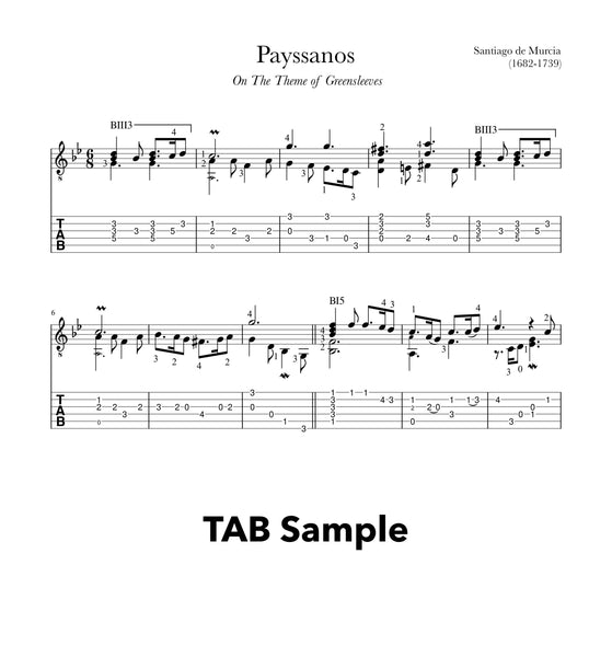 Payssanos (Greensleeves) by Santiago de Murcia (PDF)