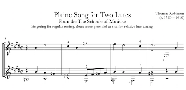 Plaine Song for Two Lutes (Robinson) for Guitar Duet