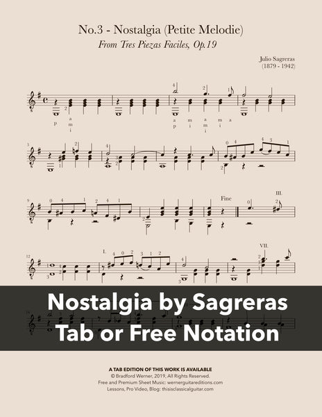 Nostalgia, No.3, Op.19 by Sagreras (Free Sheet Music PDF)