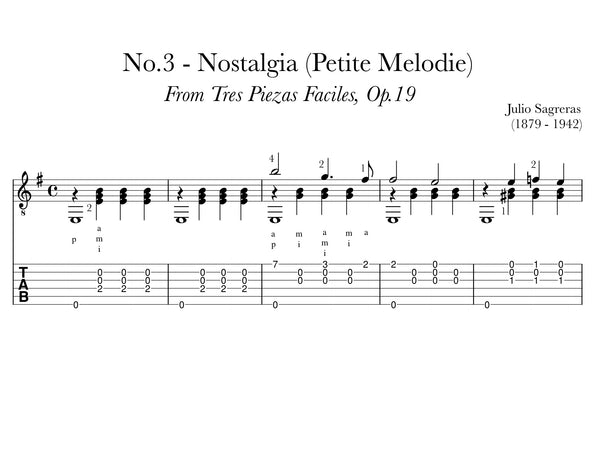 Nostalgia, No.3, Op.19 by Sagreras (TAB Sample)