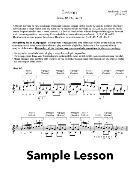 Classical Guitar Repertoire Lessons Grade 4 - Sample Lesson