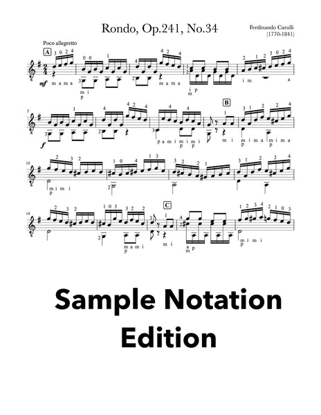 Classical Guitar Repertoire Lessons Grade 4 - Sample Notation