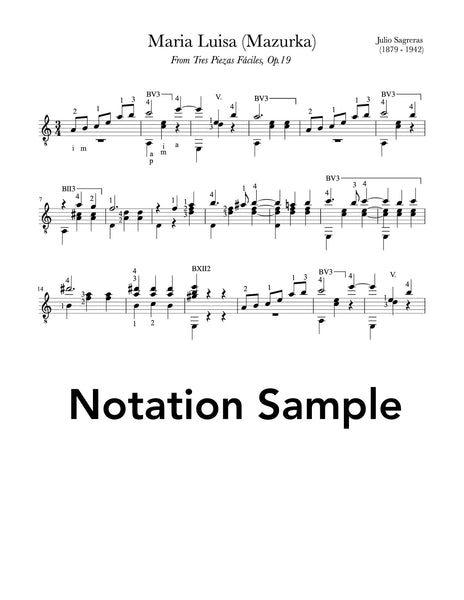Classical Guitar Repertoire Lessons Grade 5 - Notation Sample