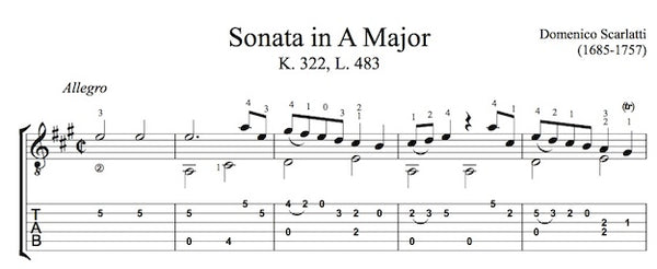 Sonata in A, K322 by Scarlatti (Tab Sample)