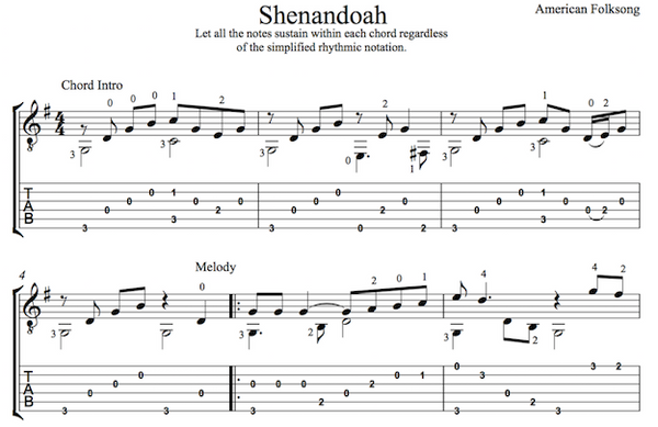 Oh Shenandoah for Guitar (PDF)