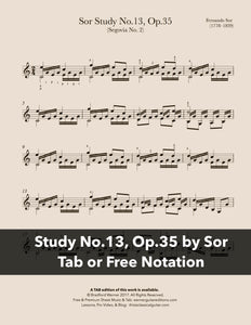 Study No.13, Op.35 by Sor (Free PDF)