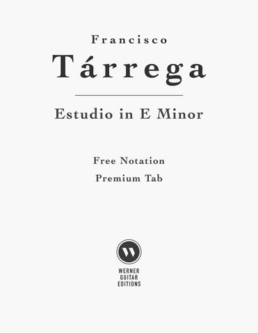 Estudio by Tarrega for Classical Guitar (Free PDF)