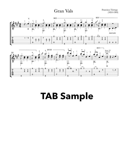 Gran Vals by Tarrega - Tab Sample