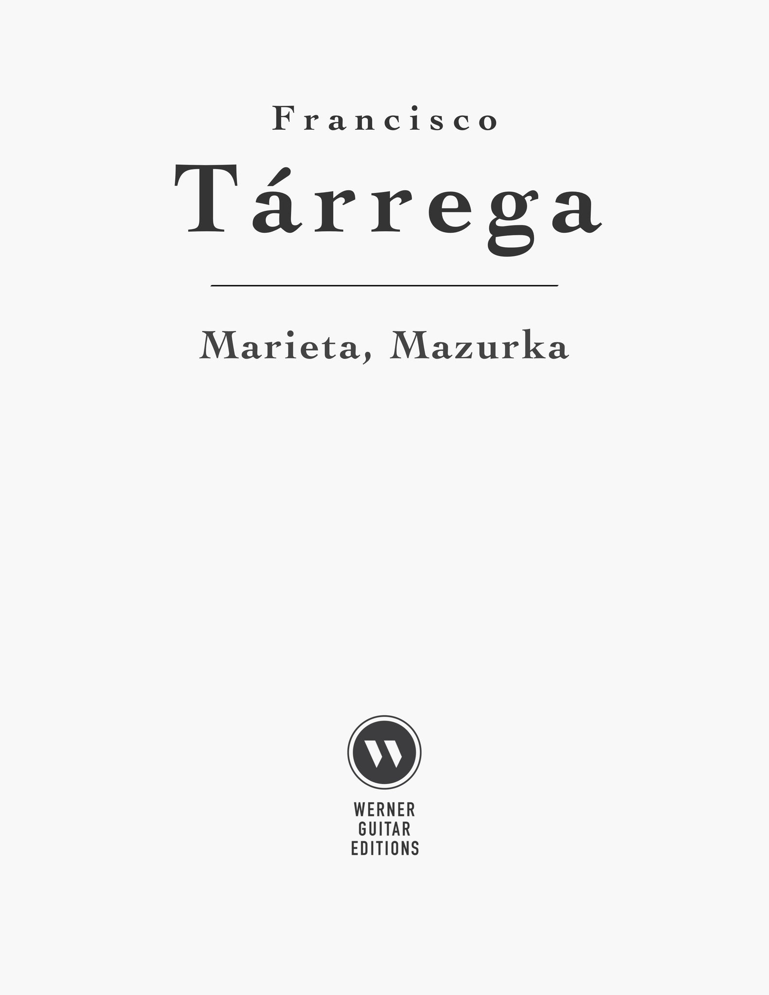 Marieta, Mazurka by Tárrega (Free PDF Sheet Music, or Tab)