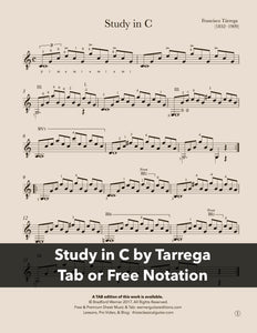 Study in C by Tarrega (Free PDF)