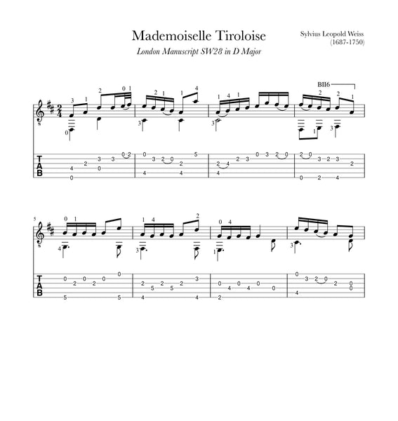 Mademoiselle Tiroloise by Weiss for Guitar (Tab Sample)