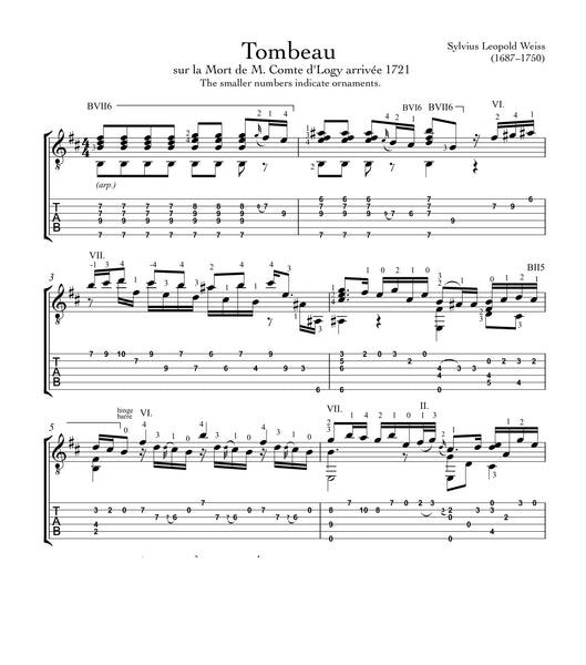 Tombeau by Weiss for Guitar (PDF)