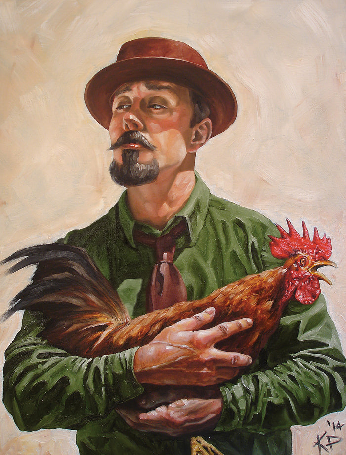 Man with a Chicken Print