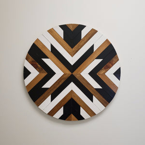 "24"" Black and White Wood Roundel - Danielle Milner"