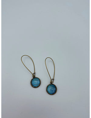 Blue Morpho Bronze Dangle Earrings