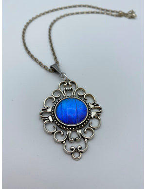 Blue Morpho Diamond Pendant Necklace