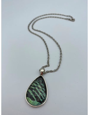 Green Sunset Moth Tear Drop Necklace