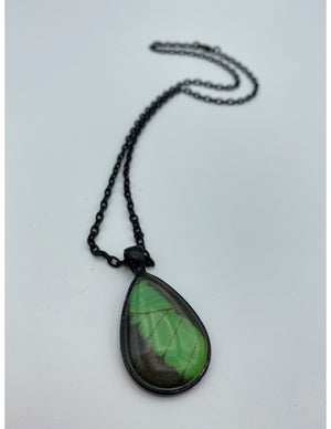 Emerald Swallowtail Black Tear Drop Necklace